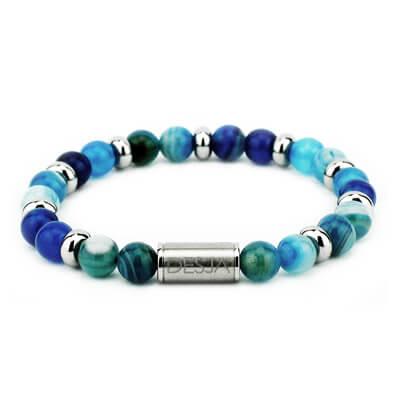 Bracciale con pietra dura agata azzurra e acciaio | Beverly