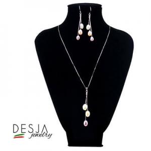 Completo di perle colorate Argento 925 collana e orecchini