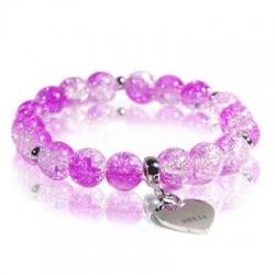 Bracciale cristallo di rocca acciaio rosa frontale