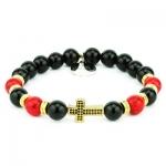 Bracciale Damian croce oro con onice nero e turchese rosso