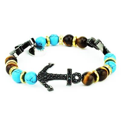 Bracciale Anchor con 3 ancore occhio di tigre turchese Bracciale ancora pietra occhio di tigre e turchese azzurro