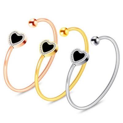 Bracciale Sandy Love acciaio colorato con cuore luminoso