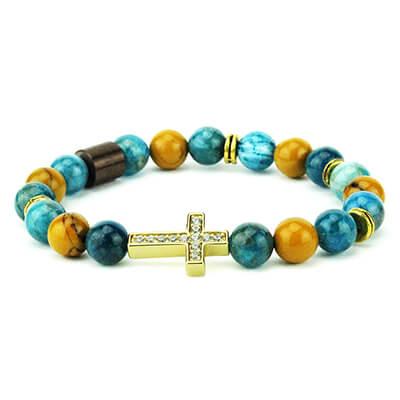 Bracciale pietre apatite e mokaite con croce zirconi | Kristen