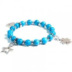 Bracciale Elodie pietre dure turchese azzurro e distanziatori