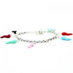 Braccialetto Lucky Joy argento 925 con portafortuna corni colorati