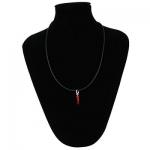 Collana Silver red caucciù con chiusura e corno rosso in argento 925