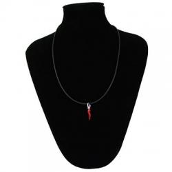 Collana caucciù con chiusura e corno rosso in argento 925 | Silver red