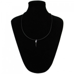 Collana Silver black caucciù con chiusura e corno nero in argento 925