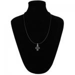 Collana Reagan caucciù con chiusura e croce latina zirconi in argento 925