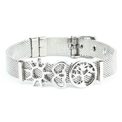 Bracciale Ajsed Vita acciaio maglia Milano con charme color argento