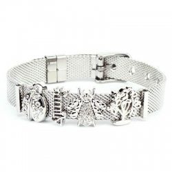 Bracciale Ajsed family maglia milano color argento e charm