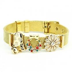 Bracciale Ajsed LIFE acciaio maglie milanesi-color oro campana fiore fiocchi