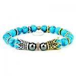 Bracciale Romuald light blu con corone e pietre turchese azzurro ed ematite
