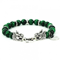 Bracciale Darshan green drago argento 925 pietra occhio di tigre