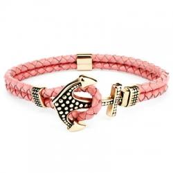 Bracciale ancora pink con ancora oro cuoio rosa donna