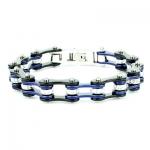 braccialetto catena moto blu nero acciaio