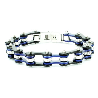 Bracciale uomo catena moto blu acciaio cristalli | Blu Cristal