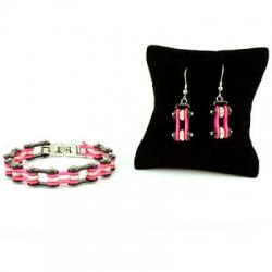 Bracciale e orecchini catena moto donna acciaio rosa nero | Pink Cristal