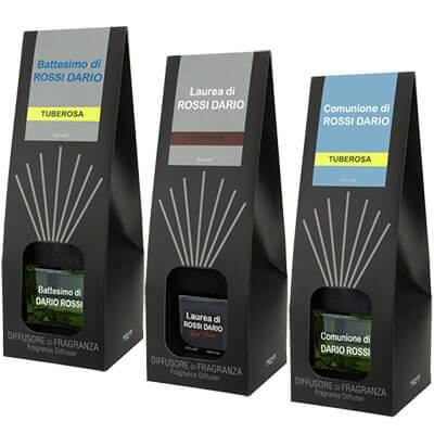 Bomboniere profumatore ambiente con bastoncini personalizzati