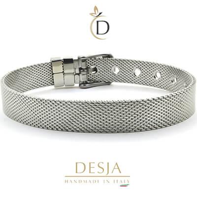 Bracciale maglia Milano in acciaio color argento | Ajsed Steel