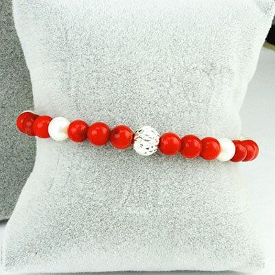 bracciale corallo rosso e perla con sfera argento