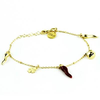 Bracciale argento 925 oro portafortuna corni campanella | Lucky gold