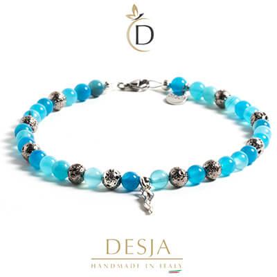 Cavigliera pietre naturali Agata azzurra Corno argento 925 | Lily