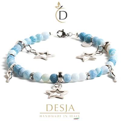 Cavigliera pietra Agata muschiata azzurra corno argento925 | Ingrid