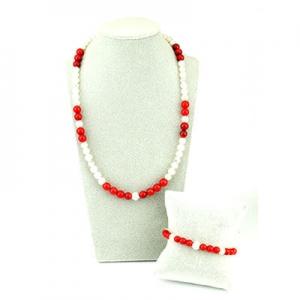 completo collana bracciale in perle corallo rosso e sfera argento