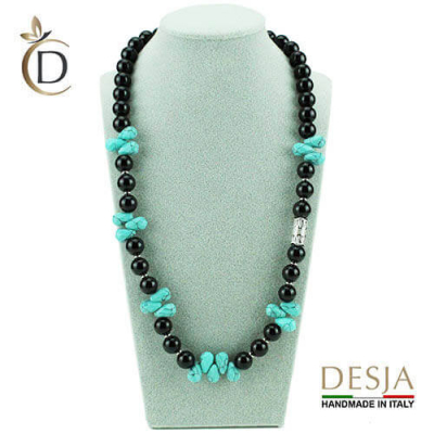 Collana pietra dura naturale Onice e Turchese azzurro | Tisbea