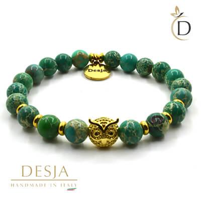 Bracciale pietra dura diaspro verde con gufetto | Jepson