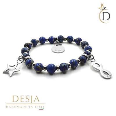 Braccialetto pietra dura diaspro blu ciondoli acciaio | Sky Blu