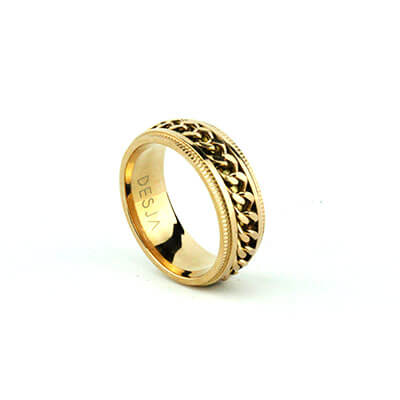 Anello fascia uomo catena acciaio oro antistress | Cruz