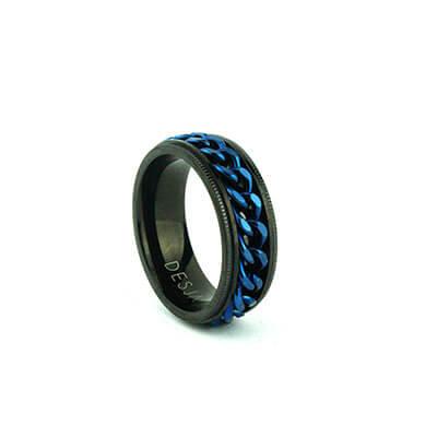 Anello fascia uomo catena acciaio nero blu antistress | AXEL