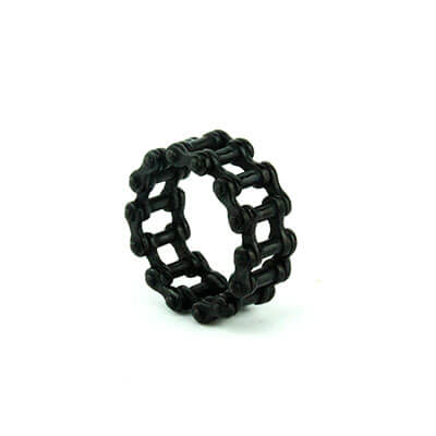 Anello catena moto per lui e lei acciaio nero | Jaxon