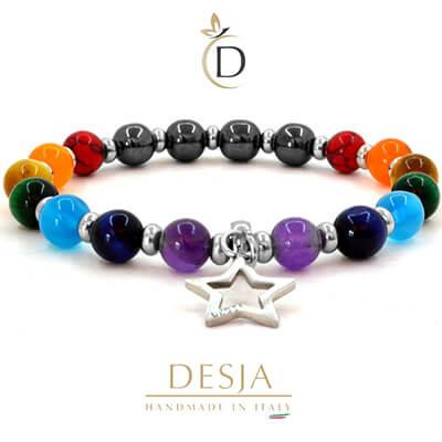 Bracciale 7 chakra Agata colorata charme Stella | Sheridan