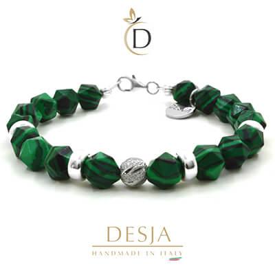 Bracciale pietra Malachite verde e argento 925 | Clarise Green