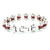 Braccialetto catena moto unisex acciaio e rosso   Cristal red