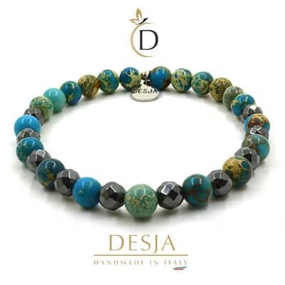 Bracciale pietra dura naturale Diaspro Ematite | Petit Light Blue