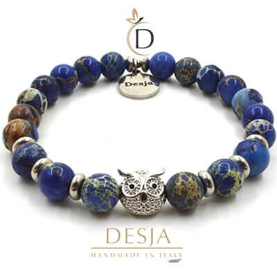 Braccialetto elastico pietra dura naturale Diaspro Blu | Hollis