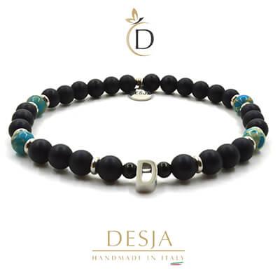 Bracciale unisex pietra Diaspro azzurro e Onice nero | Lewissy