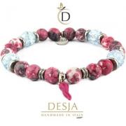 Bracciale donna Agata colorata Cristallo di rocca | Cristal Rose Light