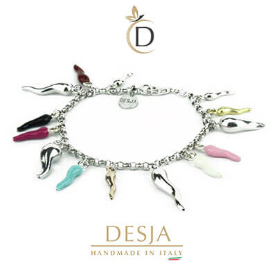 Braccialetto donna con corni colorati in argento 925 | Lucky Desja
