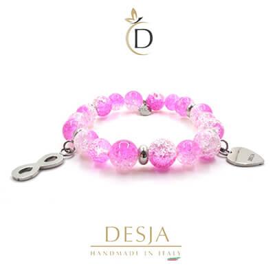 Bracciale cristallo di rocca rosa e ciondoli | Cristal Rose