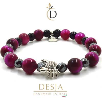 Bracciale donna pietra agata viola onice nero ed ematite | Sacha