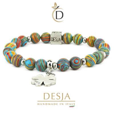 Bracciale pietre dure malachite colorata con quadrifoglio | Darla