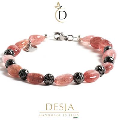 Braccialetto pietra Quarzo rosa e Lava vulcanica | Becka