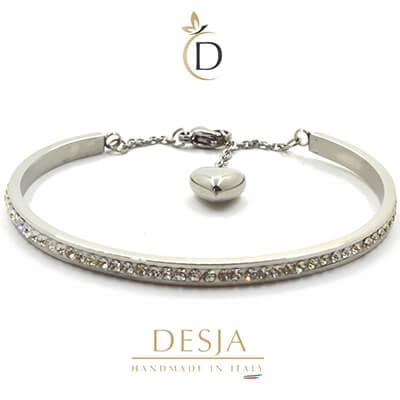 Bracciale rigido in acciaio color argento | Althea Silver