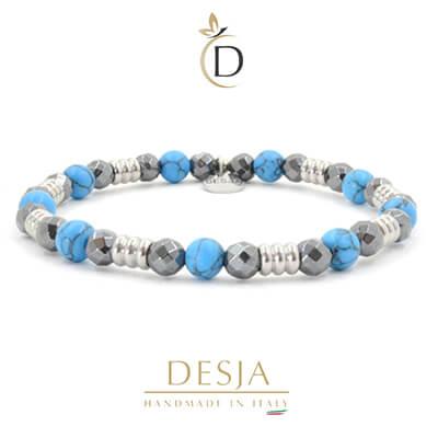 Bracciale unisex pietra naturale ematite turchese azzurro | Ford