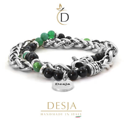 Bracciale doppio giro pietra Agata Verde e Onice Nero | Fedry